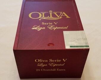 Wooden Cigar Box, Oliva Serie V, Liga Especial, Churchill Extra, Red Cigar Box