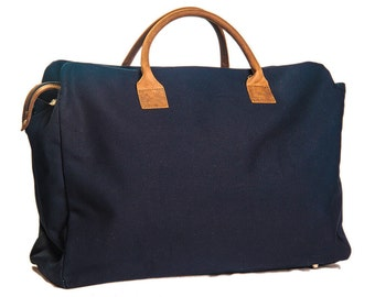 Parma 3 Zipper Travel Bag with Brown Leather Details