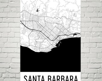 Santa Barbara Map, Santa Barbara Art, Santa Barbara Print, Santa Barbara Art Poster, Santa Barbara Wall Art, Map of Santa Barbara, Gift, Art
