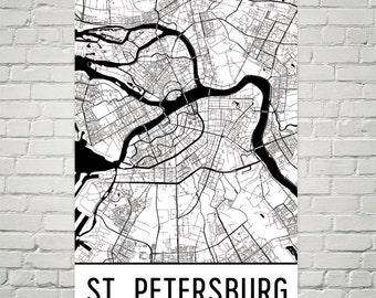St. Petersburg Map, St. Petersburg Art, St. Petersburg Print, St. Petersburg Russia Poster, St. Petersburg Wall Art, St. Petersburg Gift