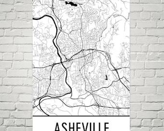 Asheville Map, Asheville Art, Asheville Print, Asheville NC Art Poster, Asheville Wall Art, Asheville Gift, Map of Asheville, Decor Art