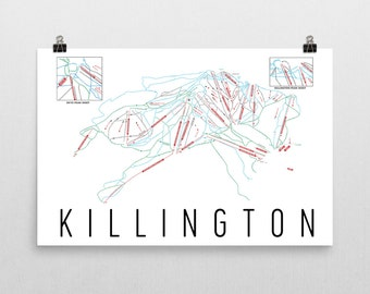 Killington Resort Ski Map Art, Killington Vermont, Ski Vermont, Killington Trail Map, Killington Ski Resort Print, Vermont Art, Vermont Gift