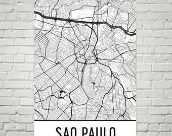 Sao Paulo Map, Sao Paulo Art, Sao Paulo Print, Sao Paulo Brazil Poster, Sao Paulo Print, Sao Paulo Wall Art, Sao Paulo Gift, Sao Paulo Decor