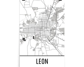 Leon Map, Leon Art, Leon Print, Leon Nicaragua Poster, Leon Wall Art, Map of Leon, Leon Gift, Leon Poster, Leon Decor, Leon Map Art Print