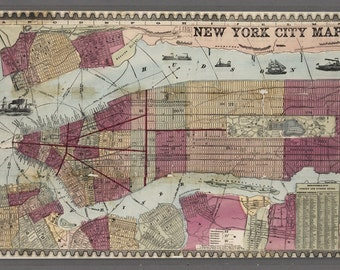 Vintage New York City Map- Digital