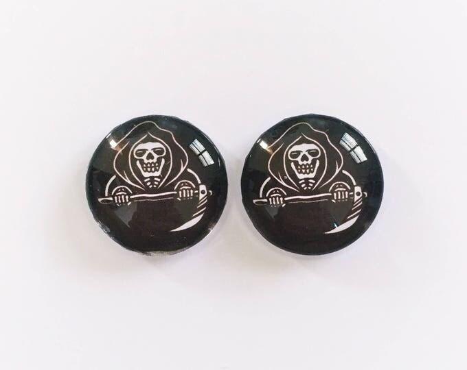 The 'Grim Reaper' Glass Earring Studs