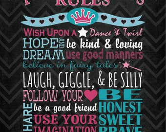 "Personalized Princess Rules Canvas; Nursery or Kids Room Decor; One 12x16"" Canvas"