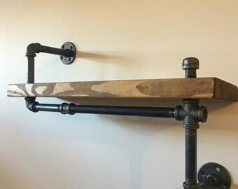 Rustic Wood Pipe Shelf