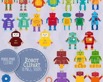 Robot Clipart Set, Cute robot clip art, 30 PNGs, Robot PNGs, toy robot clip art, Commercial Use, 15 Robots, colourful robots, set of robots