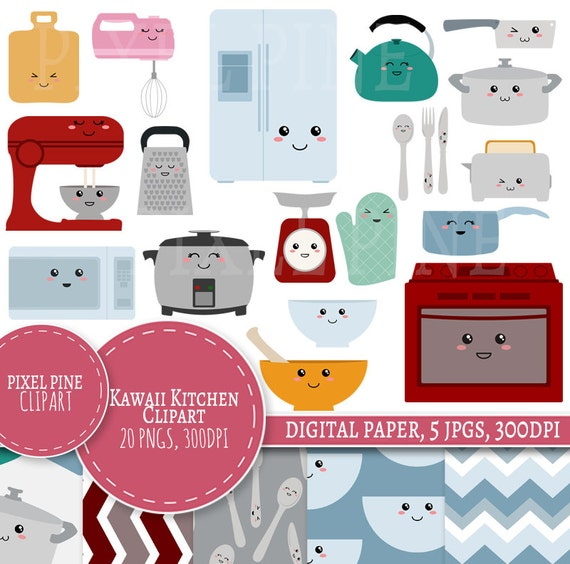 Kawaii Kitchen Clipart Set 20 PNGs 5 Kawaii Kitchen Digital