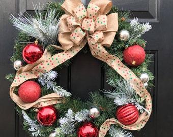 Christmas wreath, 22 inch, door wreath, holiday wreath, Christmas decor
