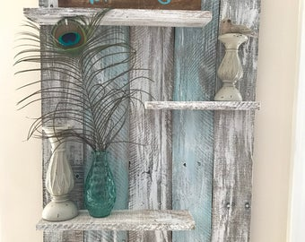 Pallet wall shelf, rustic decor, wall shelf, pallet wall shelves, home decor, bedroom decor, bathroom decor