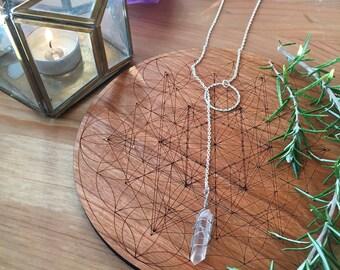 Quartz Crystal Lariat Necklace: Raw Quartz + Silver Textured Hoop