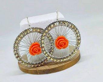 Earrings, Statement earrings, Silver earrings, Party earrings, Romantic soul earrings, Limited edition, Rose earrings!