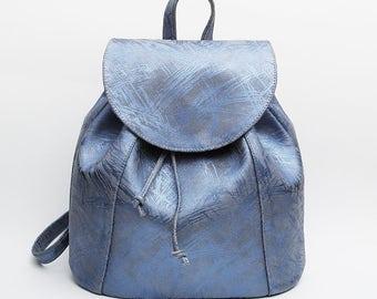 Blue Suede Leather backpack, School Backpack, Satchel, Rucksack, Italian leather, Street Backpack, Bucket Backpack