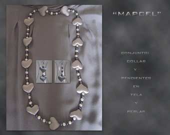 Marcel. Set necklace and earrings in satin and pearls.