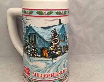 """Vintage Miller High Life Christmas / Holiday Mug / Stein - 6"""" Tall"""