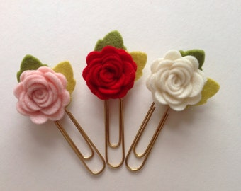Felt Roses Flower Planner Clips ~ Die Cut Shapes 100% Wool Felt Red Pink and Cream ~ Valentines Gift Set of 3 Planner Accessories