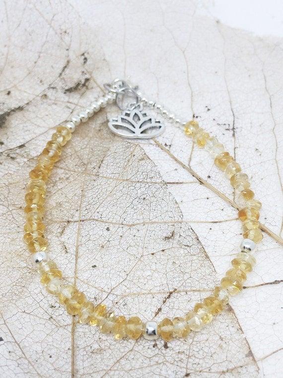 Citrine Goddess Bracelet, Gemstone Bracelet, Meditation Bracelet, Charm Bracelet, Yoga Bracelet, Lotus Bracelet, Gift For Her