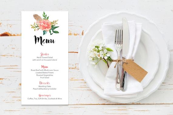 Menu word template_15,table menu, word template, weddings, editable menu card, napkin menu insert,calligraphy