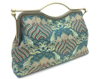 Chinese traditional clutch bag, wavy brocade clutch, bluer clutch, clutch purse, handbag, handcrafted