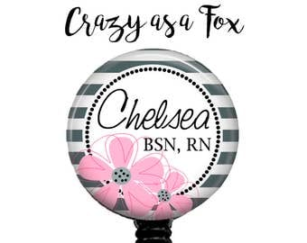 Personalized Nurse Retractable Badge Holder, Personalized Badge Reel. ID Badge Holder, Personalized Badge Reel, Modern Floral Badge Reel