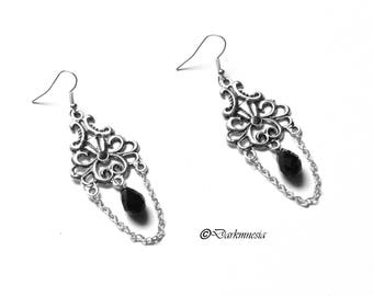 Earrings, drops, crystal, black, goth, gothic, baroque, victorian