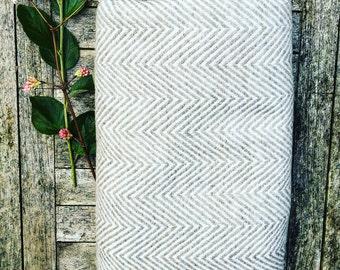 HOUSE OF BEULAH Herringbone Blanket & Throw - 100% Cashmere, Cappuccino