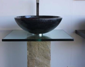 Metallic Black Dark Grey Glass Vessel Sink with Black Glass Countertop & Stone Bathroom Vanity pedestal SET
