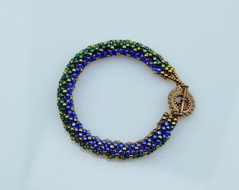Blue beadwoven bracelet, Green bracelet, amethyst bracelet, bronze bracelet, bracelet for her