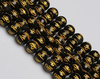 Carved Natural Black obsidian OM mani padme hum round loose beads strand 16'' 6mm 8mm 10mm 12mm 14mm 16mm