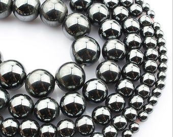 Natural Black Magnetic Hematite round loose beads strand 16'' 4mm 6mm 8mm 10mm 12mm