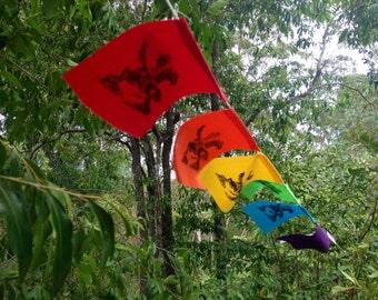 Rainbow Block Print Flags (with original hand carved wish horse design) // Tibetan Style, Garden Flag, Bunting, Meditation Flags, Home Decor
