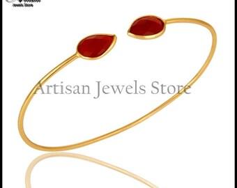 Red Onyx Gemstone Bangle Bracelets 92.5 Sterling Silver Gold Plated Bangle Birthstone Jewelry Women Gemstone Bangle-wbezb1