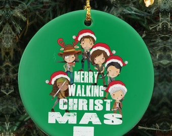 Merry Walking Christmas - The Walking Dead Parody - Ceramic Ornament