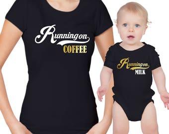 Running on Coffee mother's t-shirt Running on Milk baby body grow set