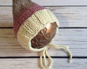 Knit Pixie Bonnet, Newborn Pixie, Wool Pixie, Neopolitan, Newborn Wool Hat, Knit Wool Prop, Newborn Photo Prop