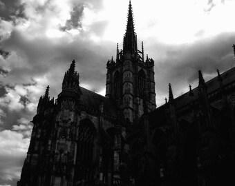 Normandy Cathedral digital art print; France art; cathedral art; black and white art; Normandy; minimalist; shelf decor; gallery wall art