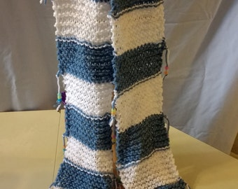 Blue and White Striped knitted Scarf with Beaded Fringe