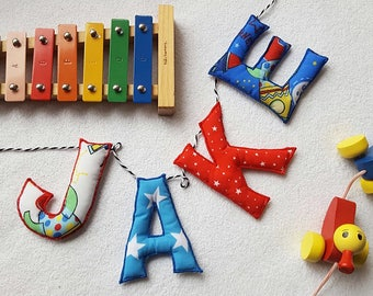Rocket Name Garland, Fabric Letter Bunting, Boys Name Banner, Children's Name Bunting, Nursery Sign, Baby Gift