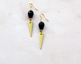 Black Boho Earrings, Modern Earrings, Everyday Earrings, Brass, Geometric Dangle Earrings, Triangle earrings, Minimalist Earrings