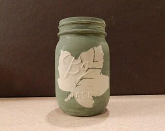 Fall Mason Jar with Leaf Print