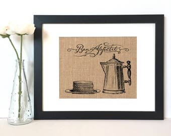 Bon Appetite Burlap Print // Rustic Home Decor // Kitchen Decor