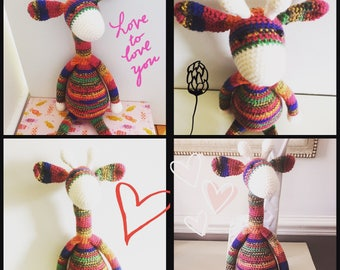 Gorgeous handmade crochet amigurumi giraffe.