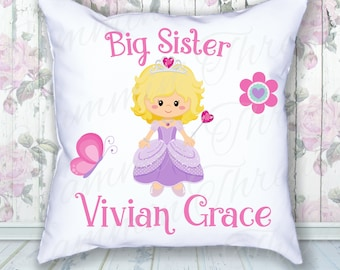 Big Sister / Personalized / Personalized Pillow / Princess Pillow / Gift for new big sister / choice of hair color