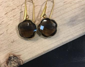 Handmade Smoky quartz gemstone earrings, sterling silver (925) vermeil gold on silver.
