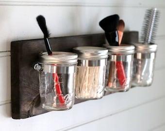 Mason Jar Set, Mason Jar Decor, Shabby Chic, Mason Jar Bathroom,Bathroom Decor, Rustic Decor, Mason Jar