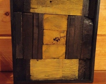 Patchwork I,  Wood Primitive Wooden Letter I