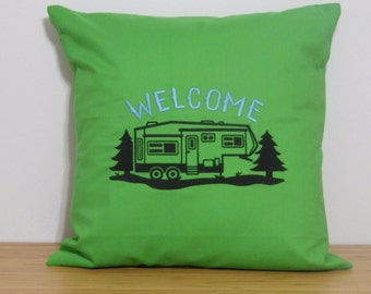 5-th Wheel Camper Pillow Cover. Camper Pillow Cover, Embroidered Throw Pillow Cover. Embroidered Camper Pillow. Gift For Camping Lovers.