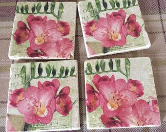 Freesia natural stone coasters